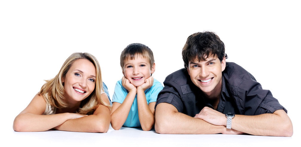 Happy young family with child